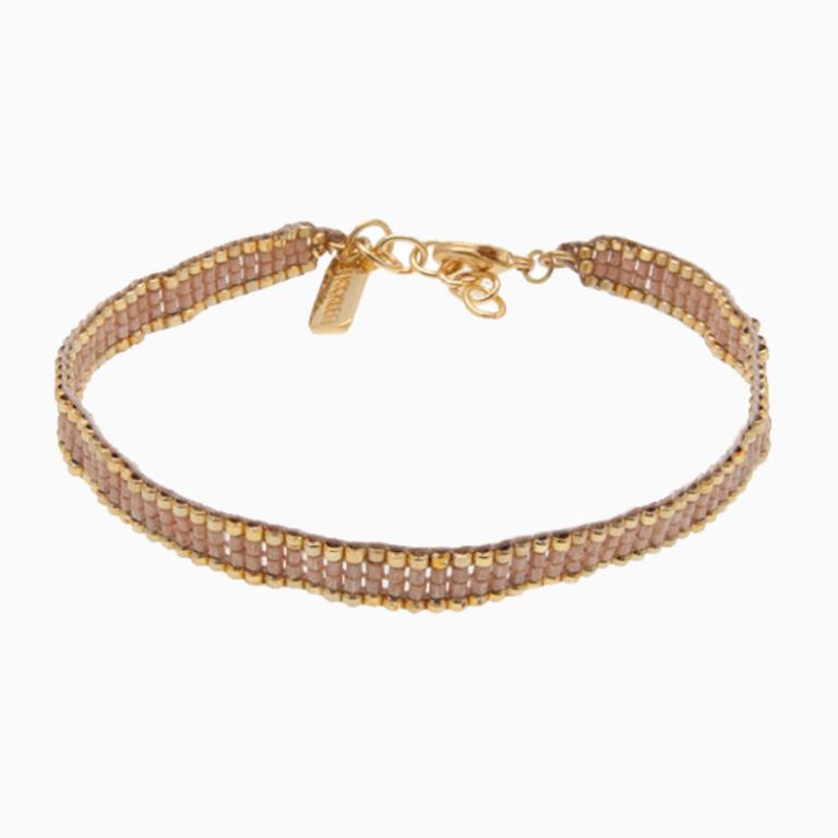 Fint perle armbånd med nude silkesnor - Wioga