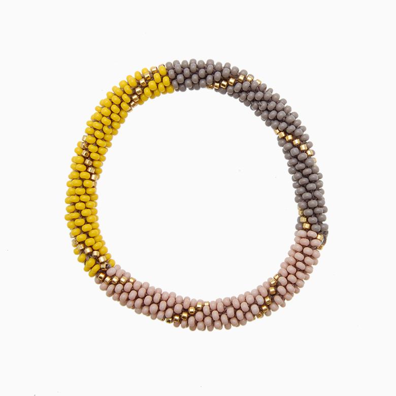Rundt armbånd, gul/grå/nude | no. 15A