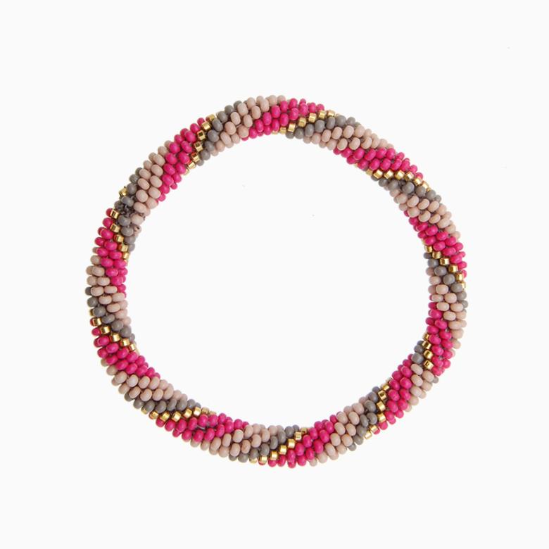 Rundt armbånd, pink/grå/nude | no. 16