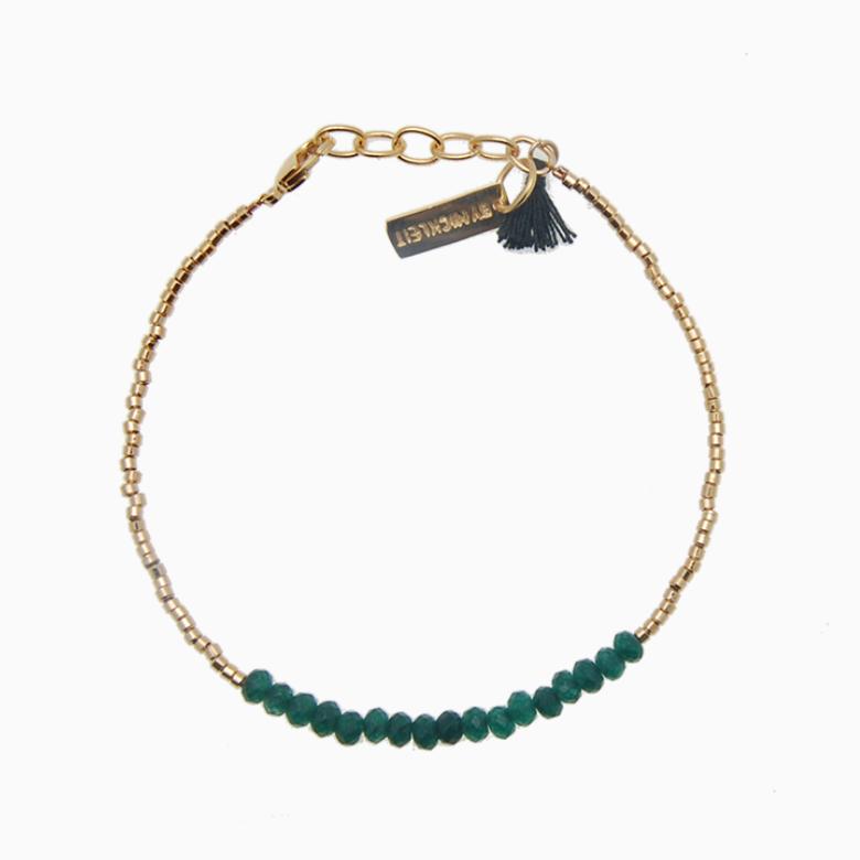 Armbånd med guldperler og gemstones, mørkegrøn jade | no. 18A- DESVÆRRE UDSOLGT
