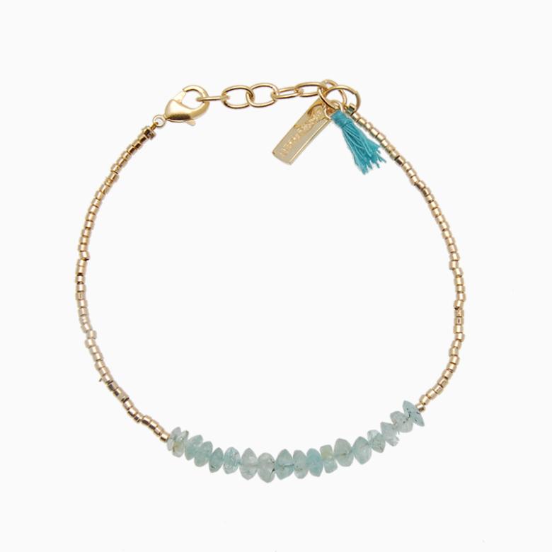 Armbånd med guldperler og gemstones, grøn akvamarin | no. 18B- DESVÆRRE UDSOLGT