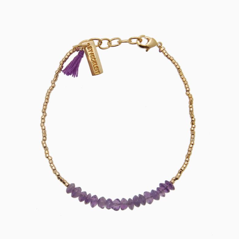 Armbånd med guldperler og gemstones, lavendel ametyst | no. 18D