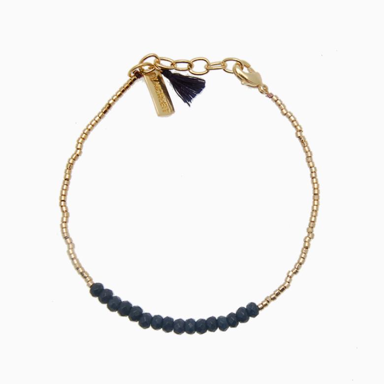 Armbånd med guldperler og gemstones, mørkeblå jade | no. 18E