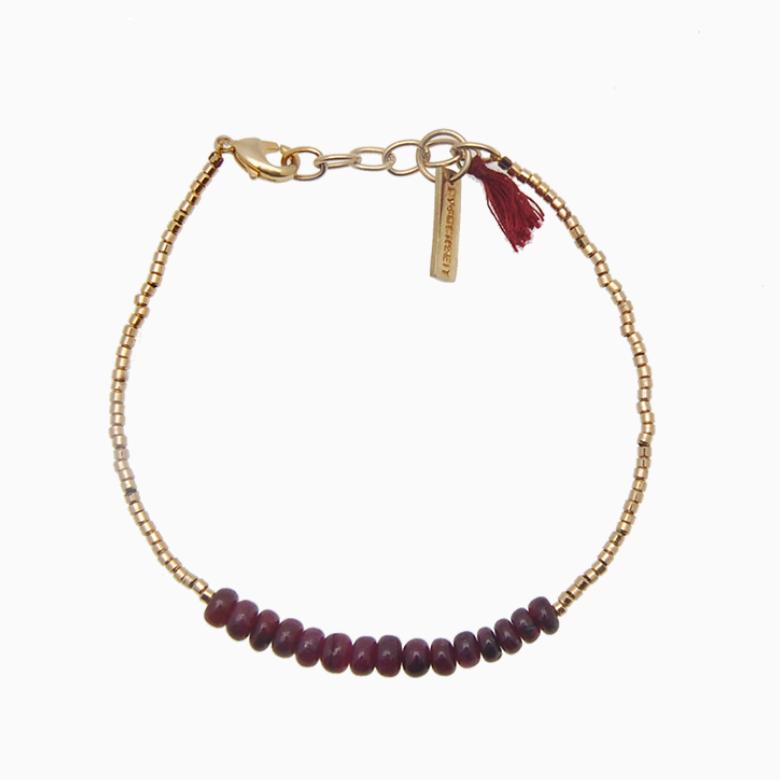 Armbånd med guldperler og gemstones, bordeaux robin | no. 18F