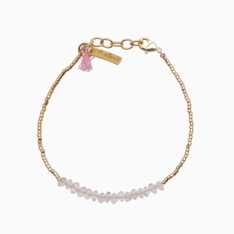 Armbånd med guldperler og gemstones, rosa kvarts| no. 18G