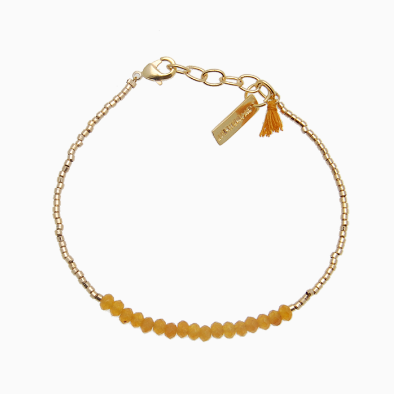 Armbånd med guldperler og gemstones, gul jade | no. 18H