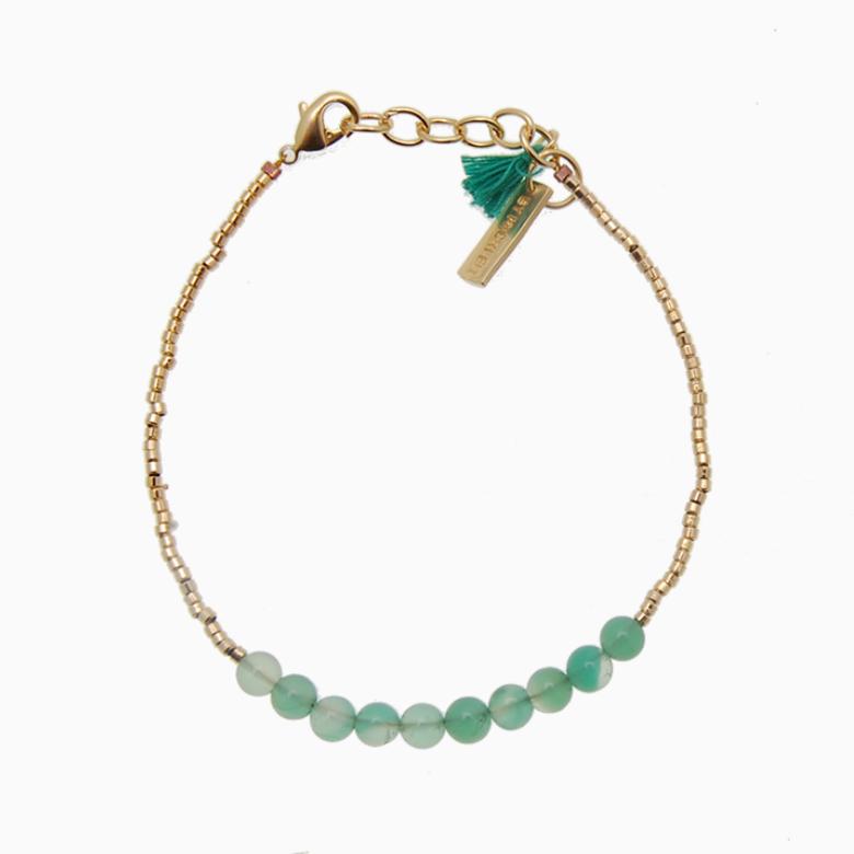 Armbånd med guldperler og gemstones, grøn | no. 18 – DESVÆRRE UDSOLGT