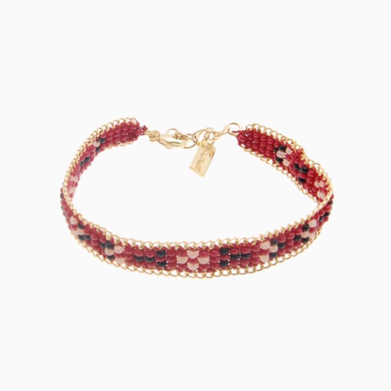 Perlearmbånd med guldkæde, rød/sort | no. 24B