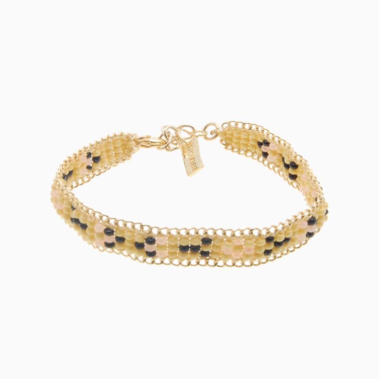 Perlearmbånd med guldkæde, gul/sort | no. 24