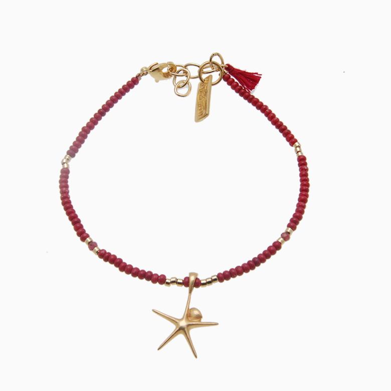 Armbånd med søstjerne, rød | no. 27E