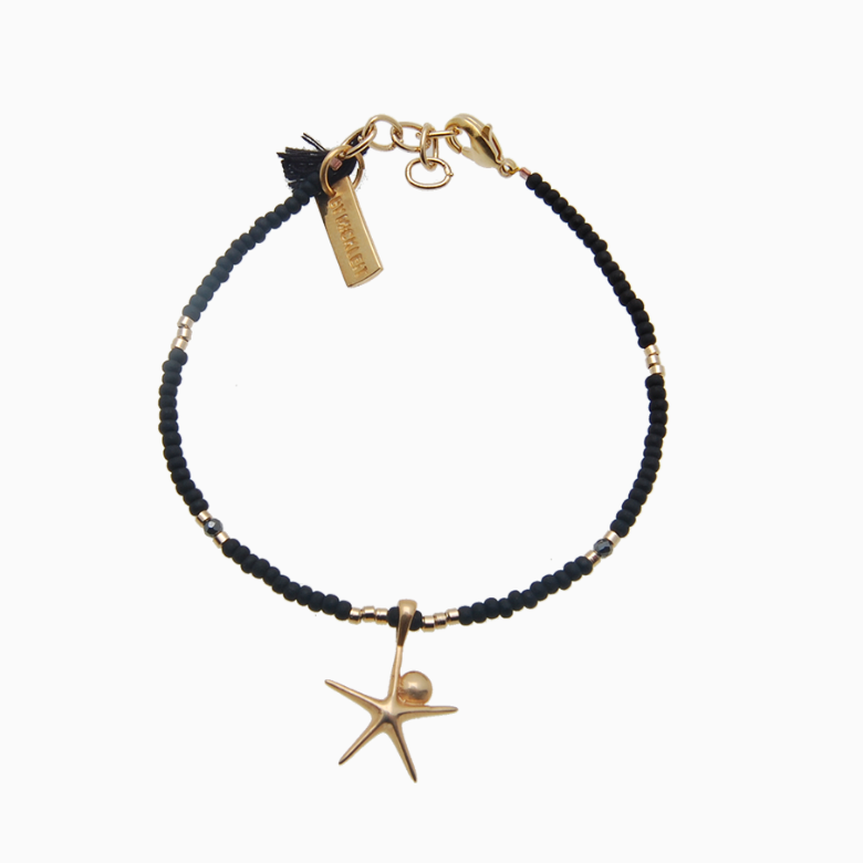 Armbånd med søstjerne, sort | no. 27G