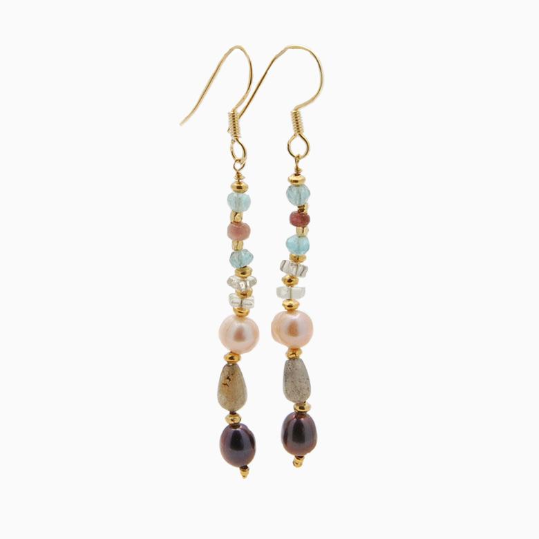 Øreringe med ferskvandsperler og gemstones, turkis | no. 351