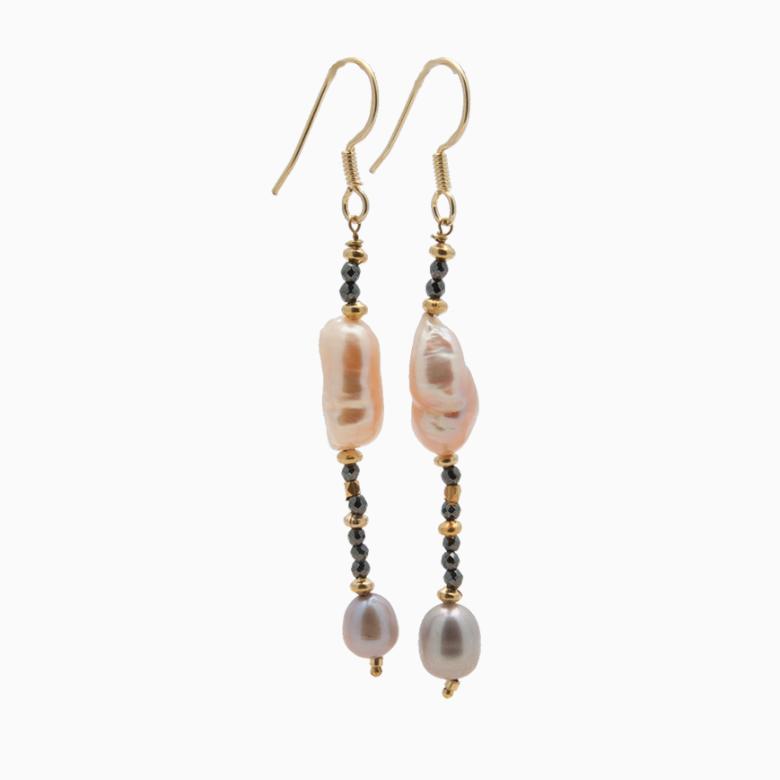 Øreringe med ferskvandsperler og gemstones, grå | no. 356