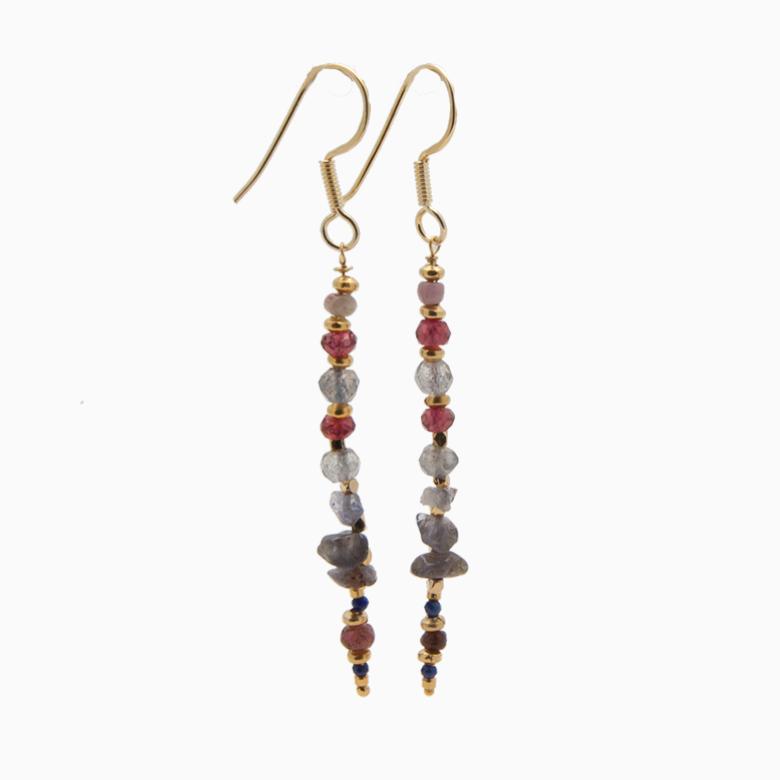 Øreringe med gemstones, rød | no. 357