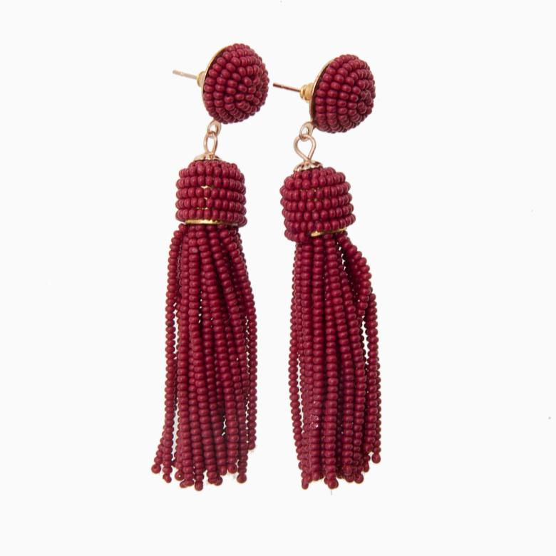 Tassel øreringe med perle ørestik, rød | no. 650