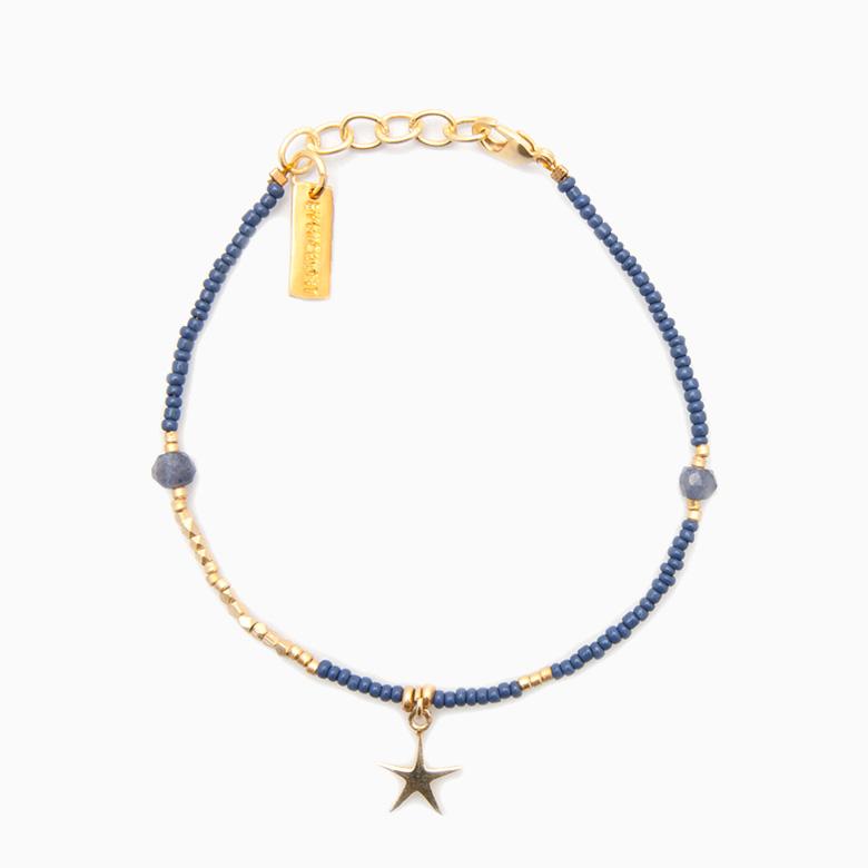 Perlearmbånd med stjerne vedhæng, blå | no. 04G