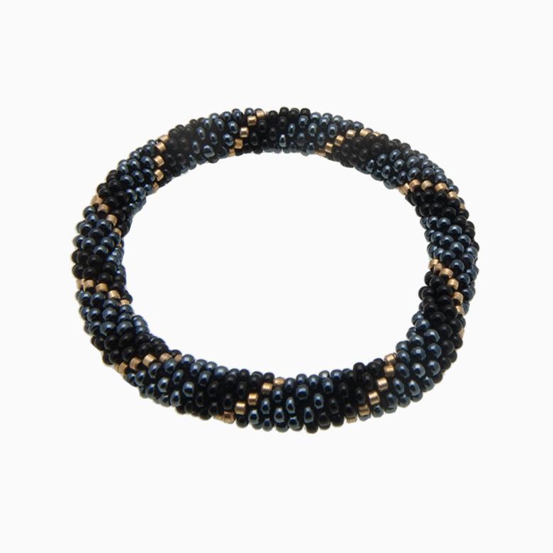 Rundt armbånd, sort/grå | no. 12F