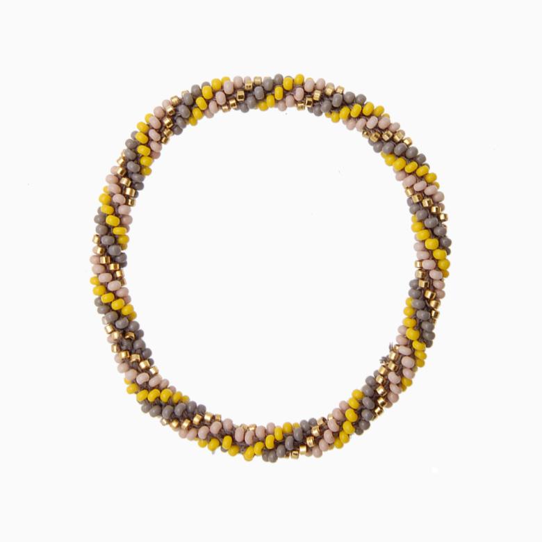 Rundt armbånd, gul/grå/nude | no. 15