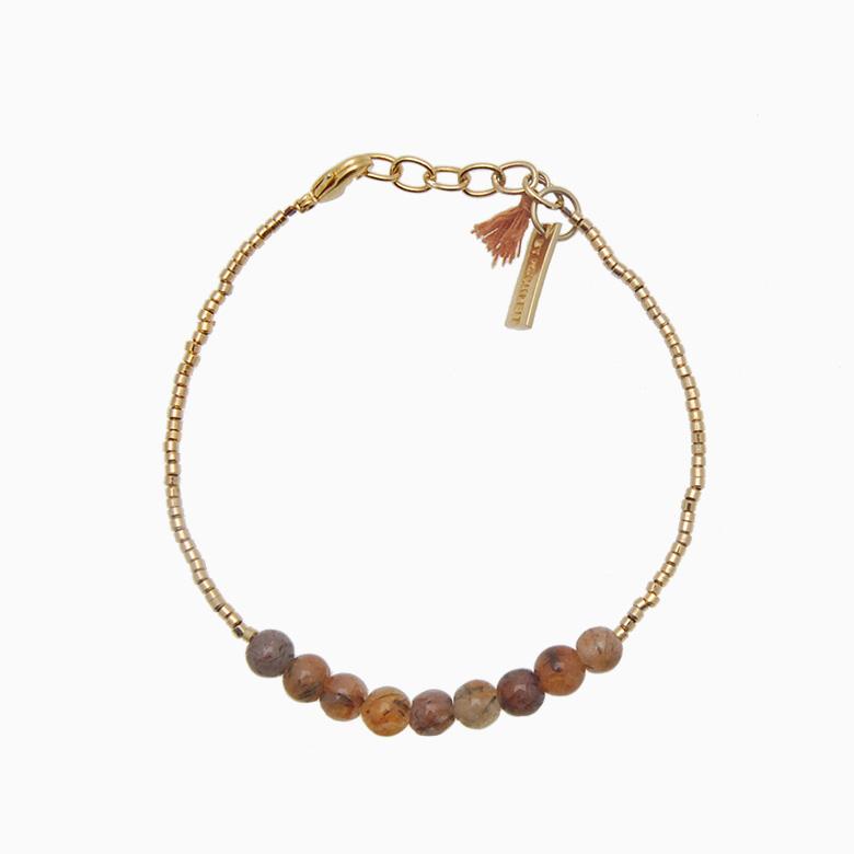 Armbånd med guldperler og gemstones, brun ametyst | no. 18C- DESVÆRRE UDSOLGT