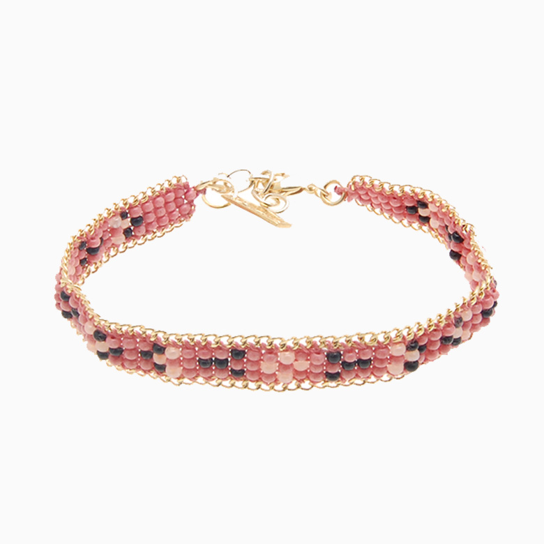 Perlearmbånd med guldkæde, rosa/sort | no. 24A
