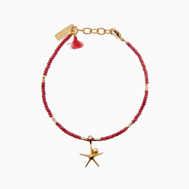 Armbånd med søstjerne, rød | no. 27A