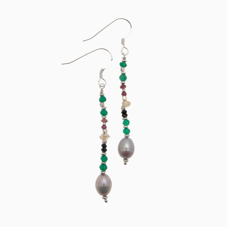 Øreringe med ferskvandsperler og gemstones, grøn | no. 350A