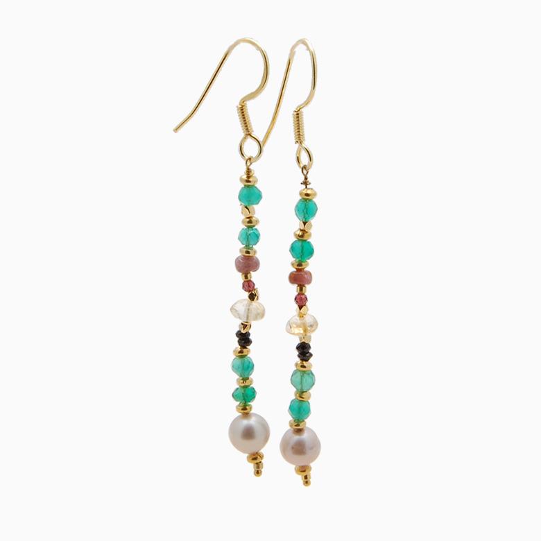 Øreringe med ferskvandsperler og gemstones, grøn | no. 350