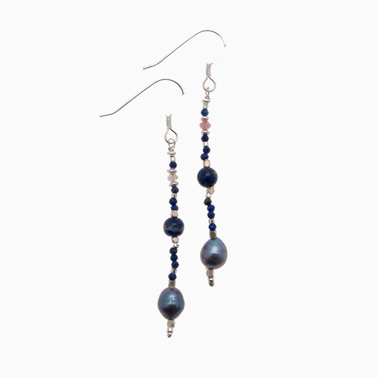 Øreringe med ferskvandsperler og gemstones, mørkeblå | no. 353A