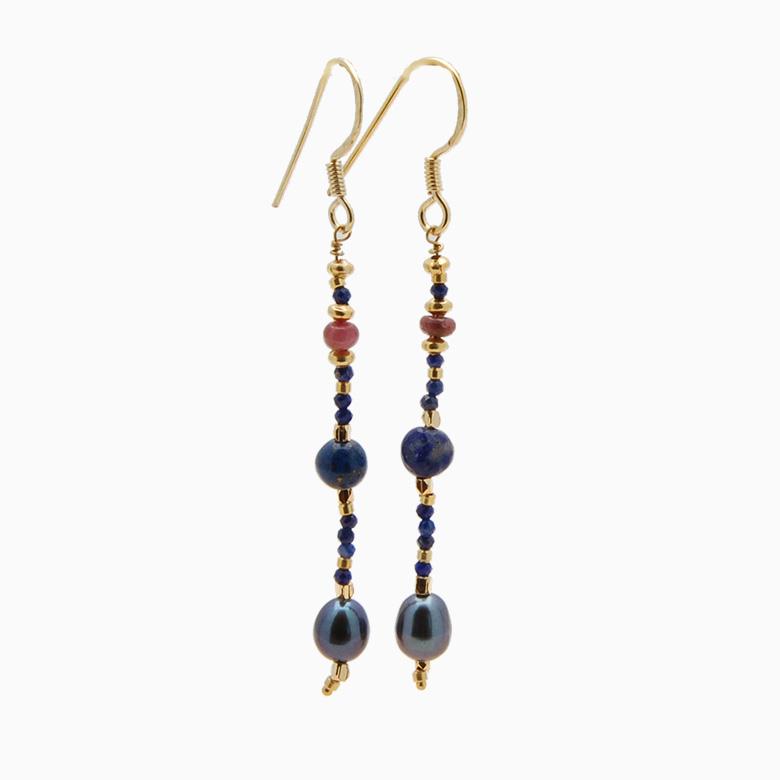 Øreringe med ferskvandsperler og gemstones, mørkeblå | no. 353