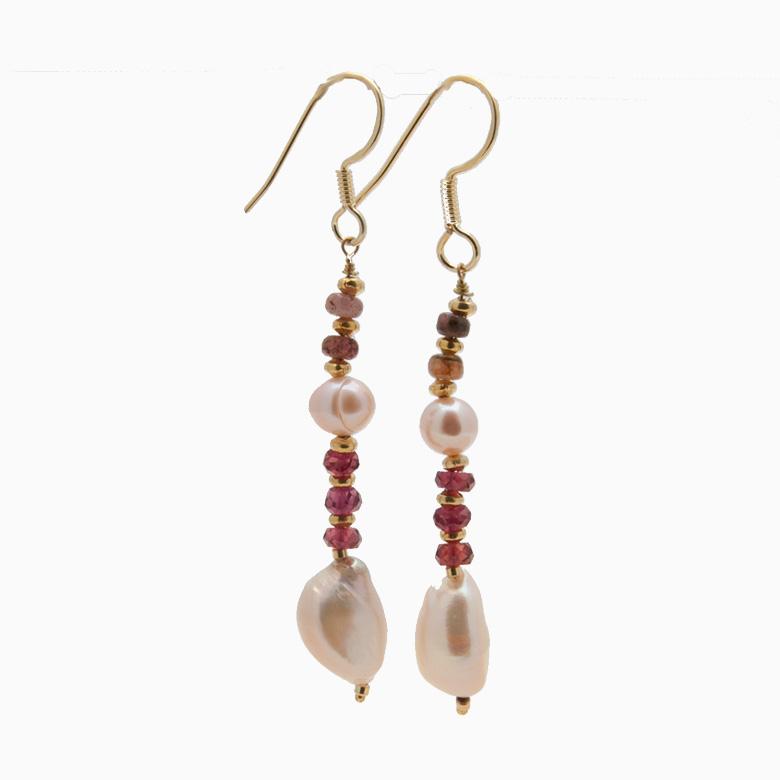 Øreringe med ferskvandsperler og gemstones, rød | no. 354