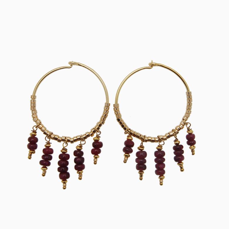 Runde creol øreringe med gemstones, bordeaux   no. 430