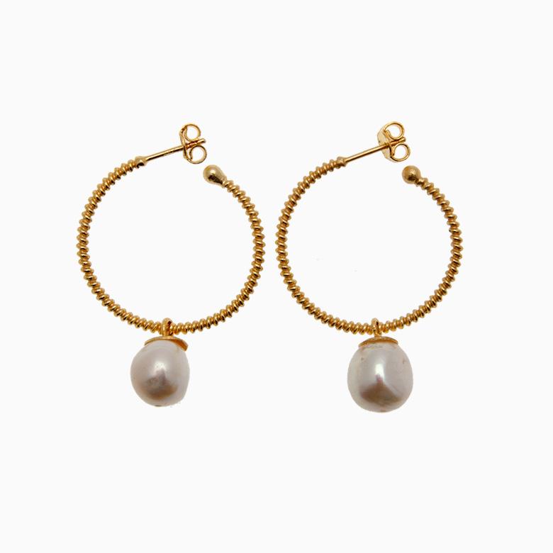 Runde creol øreringe med ferskvandsperle, guld | no. 432 – DESVÆRRE UDSOLGT