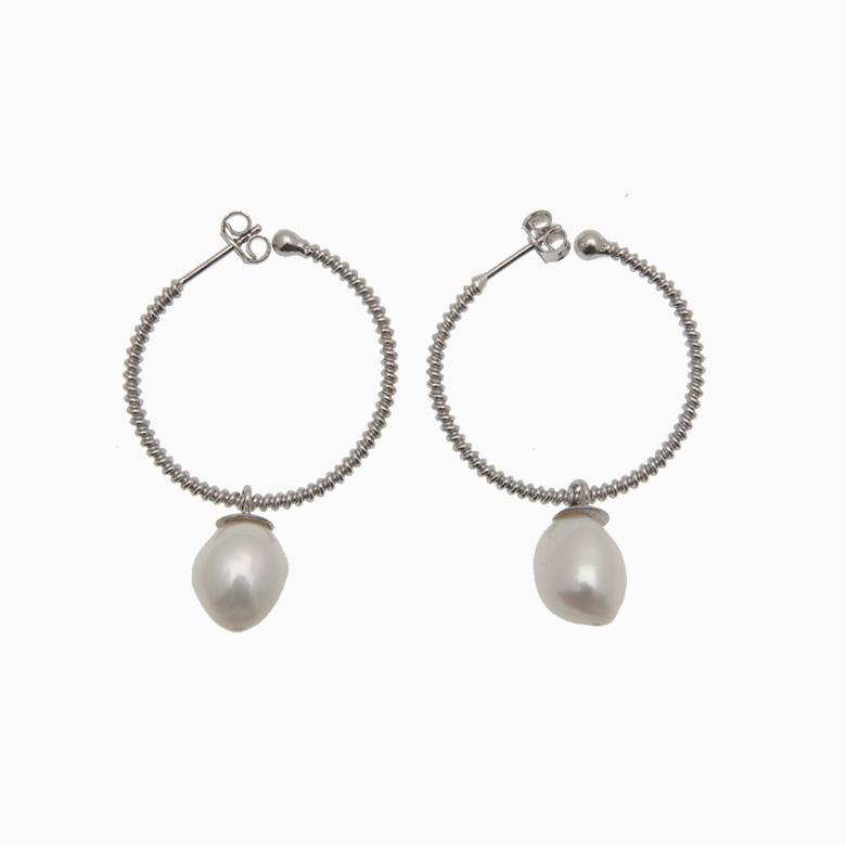 Runde creol øreringe med ferskvandsperle, sølv | no. 433