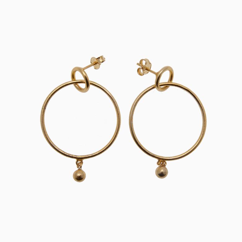 Runde creol øreringe med kugle, guld | no. 434