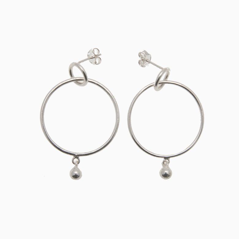 Runde creol øreringe med kugle, sølv   no. 435