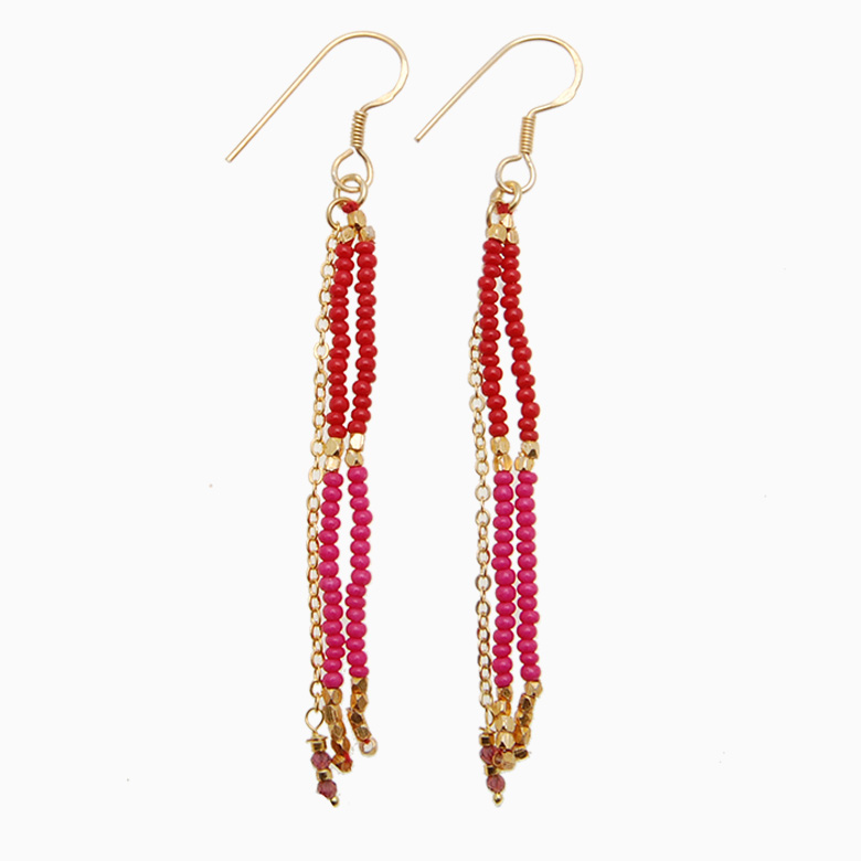 Tassel øreringe med forgyldt kæde, rød/pink | no. 458