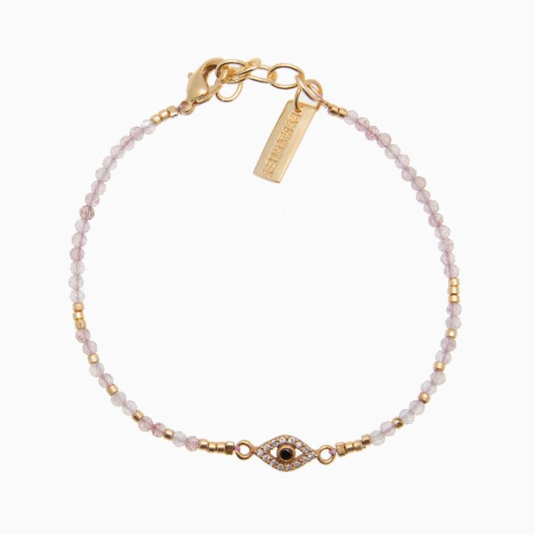 Gemstone armbånd med zirkon, rosa | no. 6D