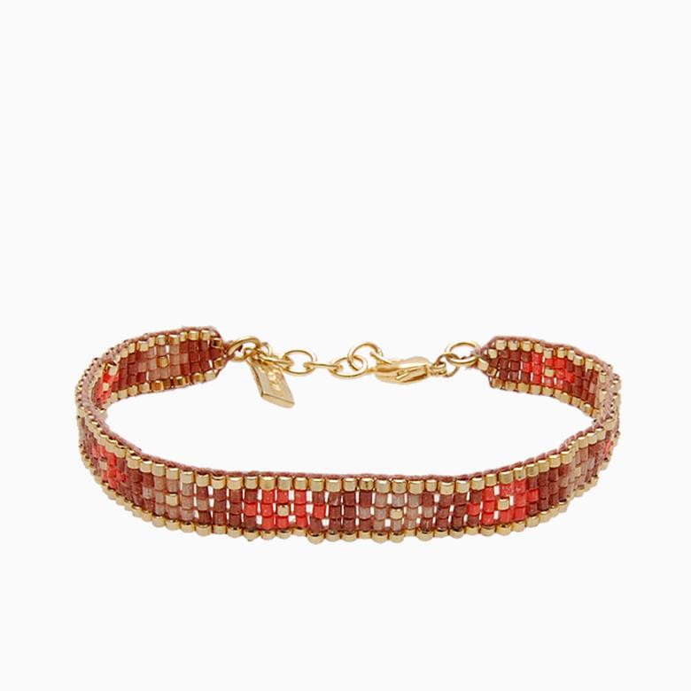 Vævet armbånd med perler, brun | no. 30