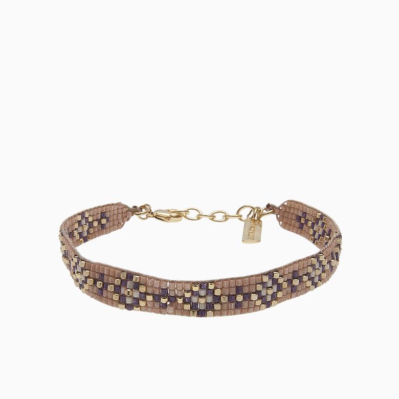 Vævet armbånd med perler, lavendel | no. 33
