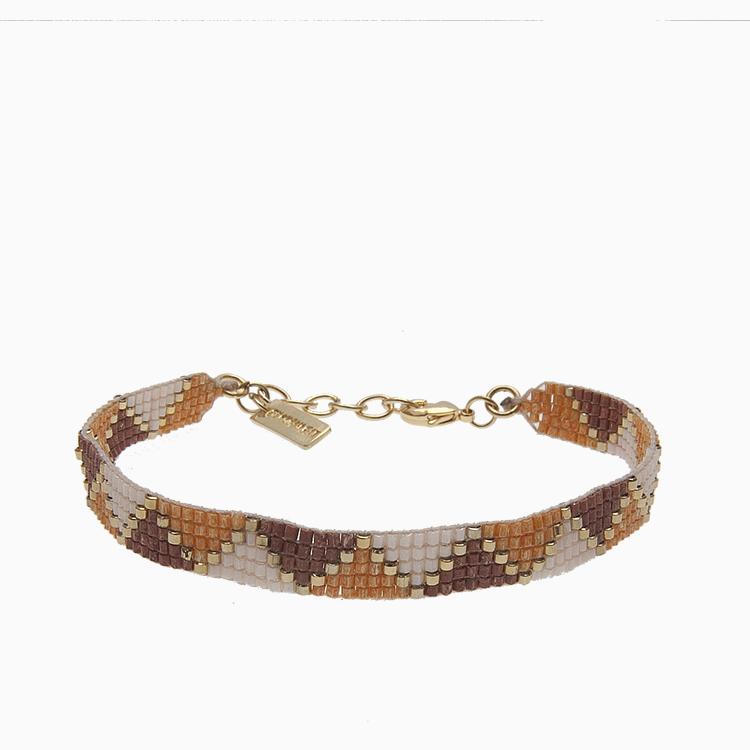 Vævet armbånd med perler, brun | no. 40