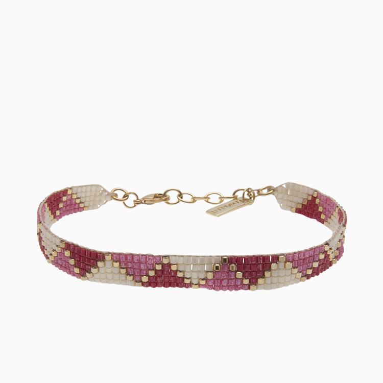 Vævet armbånd med perler, rød | no. 41