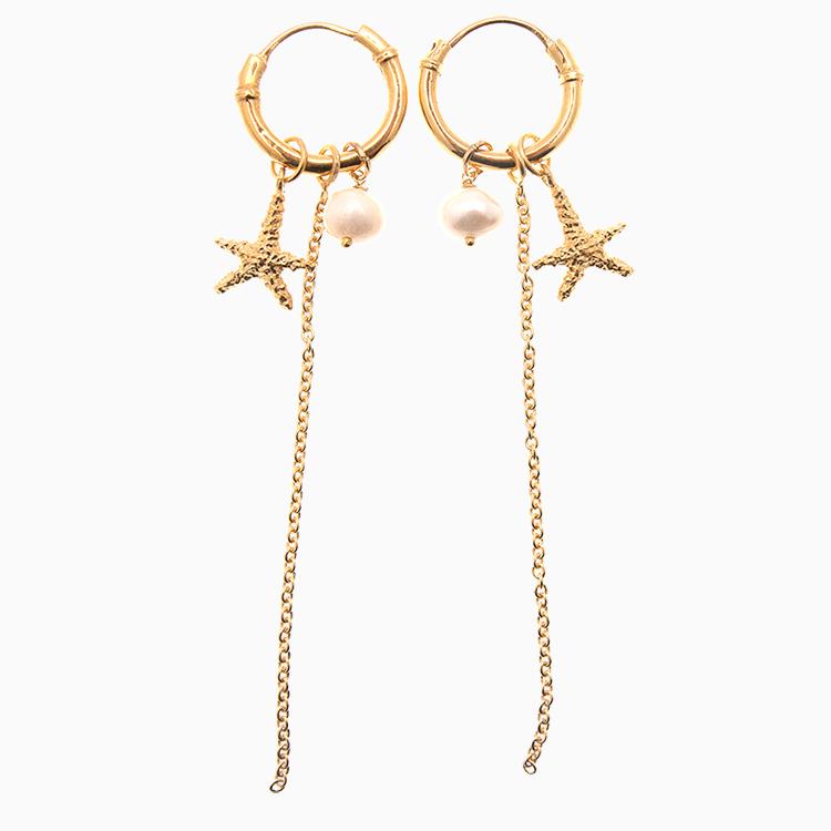 Creol øreringe med kæder, søstjerner og baroqueperler, guld | no. 442