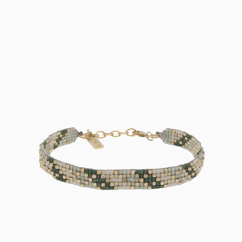 Vævet armbånd med perler, grøn | no. 45