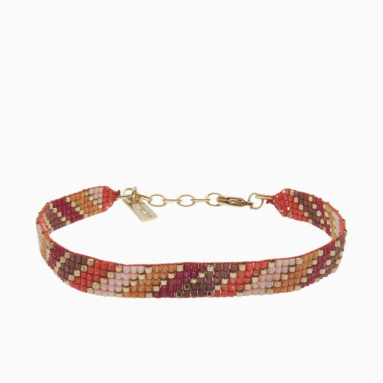 Vævet armbånd med perler, rød | no. 46