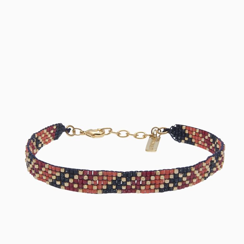Vævet armbånd med perler, rød | no. 47
