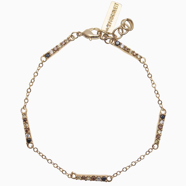 Zirkon armbånd i kæde, multicolor | no. 65