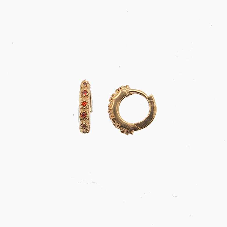 Creol ørering af guld med zirkoner, rød | no. 700
