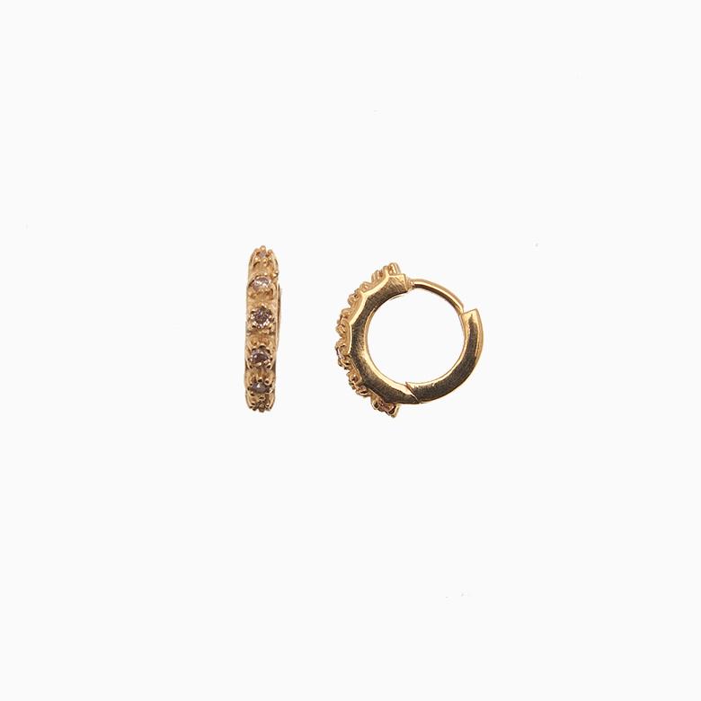 Creol ørering af guld med zirkoner, champagne | no. 703