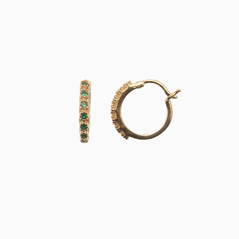 Creol ørering af guld med zirkoner, grøn | no. 706