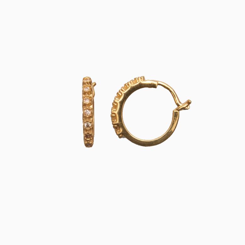 Creol ørering af guld med zirkoner, champagne   no. 708